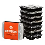 Meal Prep Zone 3 Compartment Food Storage Containers with Lids for Portion Control, Microwave, Dishwasher Safe, Bento Lunch Box, Rectangular Style, Set of 7