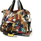 Cee Klein Genuine Leather Handbags Patchwork Purses Multi Color Satchel