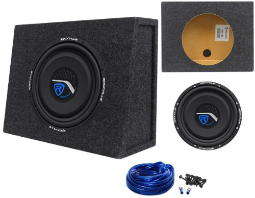 "Package: Rockville W12T3-S2 12"" 800W Peak/400W Rms 2-Ohm Shallow Mount Car Subwoofer + Rockville Rsst12 Single 12"" 0.9 Cu.Ft. Sealed Shallow Mount Sub Enclosure Box + Single Enclosure Wire Kit With 14 Gauge Speaker Wire + Screws + Spade Terminals"