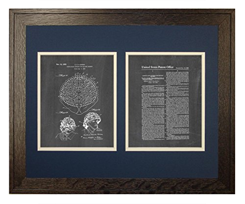 "Camouflaging Covering For Military Helmets Patent Art Chalkboard Print in a Rustic Oak Wood Frame (16"" x 20"")"