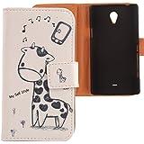 Lankashi PU Flip Leder Tasche H�lle Case Cover Schutz Handy Etui Skin F�r Sony Xperia T Lt30P Giraffe Design