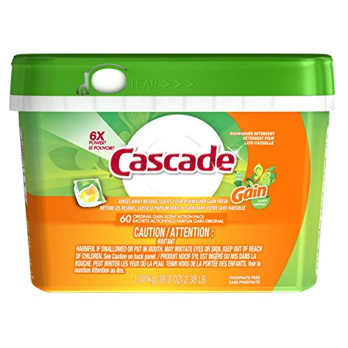 Cascade Actionpacs Dishwasher Detergent With The Scent Of Gain 60 Count (Up And Up Dishwasher Pacs compare prices)