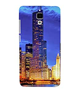 SKYSCRAPERS GLoWING WITH LIGHTS UNDER NIGHT SKY WITH THEIR REFLECTION FALLING IN LAKE WATER 3D Hard Polycarbonate Designer Back Case Cover for Xiaomi Redmi Mi4 :: Xiaomi Mi 4