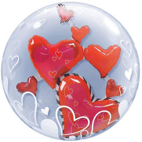 "PIONEER BALLOON COMPANY Lovely Floating Hearts Pack, 24"", Multicolor"
