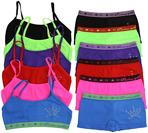 ToBeInStyle Girl's Pack of 6 Set of Bras & Boyshorts - Crown - Large (Bra Spaghetti compare prices)