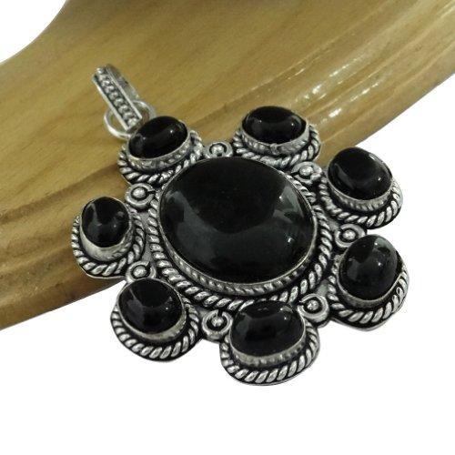 Black Onyx Stone .925 Silver Plated Copper Pendant Women Fashion Classic Ethnic Antique Jewellery India Gift