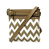 Beige & White Chevron Crossbody Letter Carrier Bag - Concealed Carry Pocket