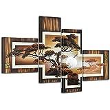 """Bilderdepot24 Wandbild """"African Savannah M1"""" - 100x70cm 4 teilig - fertig gerahmt. P203"""