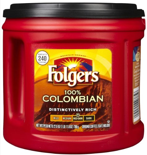 Folgers Ground Coffee 100% Colombian Medium Dark (27.8oz Canister)
