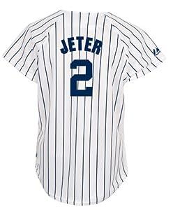 MLB New York Yankees Derek Jeter Ladies White Navy Fashion Replica Jersey by Majestic