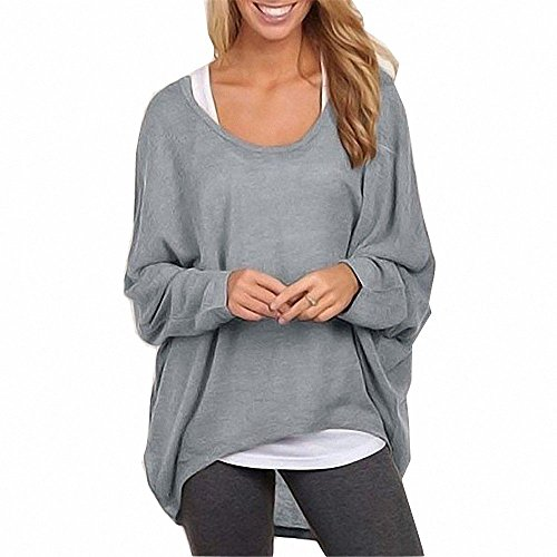 Menglihua Womens Outumn Casual Oversized Loose Baggy Pullover Tunic Shirt Top Blouse Gray L