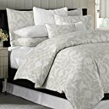 Barbara Barry Poetical Luxury Cotton Duvet Cover Natural Arabesque Paisley Scroll (King)