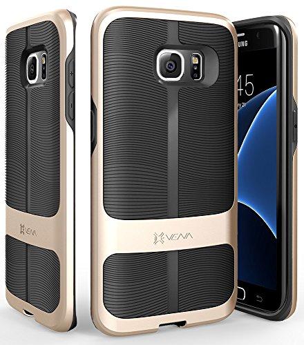 Galaxy S7 Edge Custodia, Vena [vAllure][CornerGuard ShockProof] Slim TPU Hybrid Case Cover Copertura per Samsung Galaxy S7 Edge (Oro / Nero)