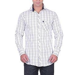 Cotblend Men's Casual Shirt (CB-80CTN-Blue-L, White, L)