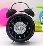 Fashion 3 inches Silent Quartz Analog Twin Bell Alarm Clock with Nightlight a...