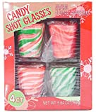 Box of 4 Candy Cane Edible Shot Glasses Peppermint Flavor (4 Shots in 1 Box)