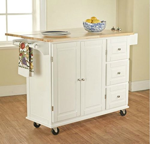 TMS Kitchen Cart and Island - This Portable Small Island Table with Wheels Has a Solid Wood Counter Top - 3 Drawers and 3 Cabinets for Additional Storage Space - Satisfaction Guaranteed! (White) (Portable Kitchen Cart Island compare prices)