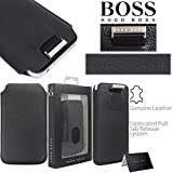 GLITZY GIZMOS® GENUINE ORIGINAL HUGO BOSS DESIGNER LEATHER SOFT SOCK COVER CASE POUCH BAG WITH PULL TAB FOR APPLE IPHONE 4 4G 4S 4TH GENERATION / IPOD TOUCH 4 4TH GENERATION GEN / SAMSUNG GALAXY S3 III MINI / GALAXY ACE S5830 / NOKIA LUMIA 510 / 610 / 62