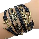 Pooqdo (TM) Hot Vintage Antique Bronze Anchor Rudder Owl Charms Leather Rope Bracelet Wristband