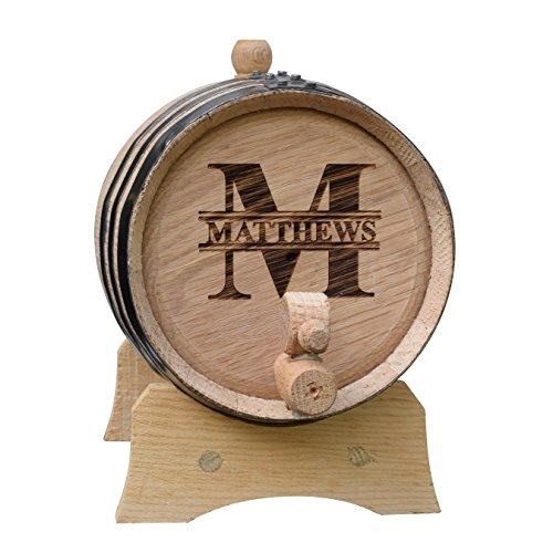 Engraved Oak Whiskey or Wine Barrel - 3 Liter - Custom Personalized for Free with Name and Initial (Wine Barrel Keg compare prices)