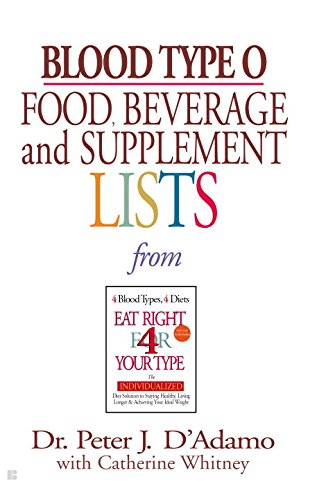 Blood Type O Food, Beverage and Supplemental Lists (Now Foods Positive compare prices)