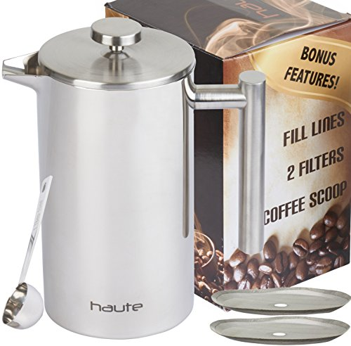 Haute Stainless Steel French Press Coffee Maker with Fill Lines, 2 Extra Filters and Coffee Scoop, 1L (Stainless Steel)