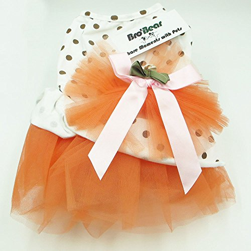 i'Pet® Floral Princess Cat Party Dress Small Dog Tutu Ball Gown with Flower Puppy Multi-layer Lace Mesh Skirt with Dot Doggy Photo Apparel Doggie Birthday Stretchy Clothes Spring Summer Holiday Wear with Ribbon Halloween Classics Collection Costume (Oran