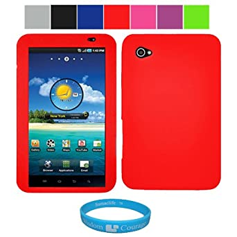 Premium Protective Soft Silicone Skin Cover for Samsung Galaxy Tab 7 inch Tablet WiFi 3G Samsung PC1000 + SumacLife TM Wisdom Courage Wristband