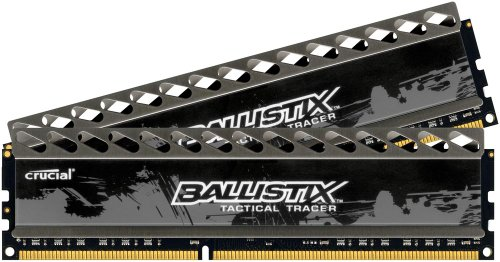 Crucial Ballistix Tactical Tracer RAM Kit 8GB (2x4 GB), con LED rossi/verdi, DDR3, 1866 MT/s, PC3-14900, CL9, 1.5V, UDIMM 240pin