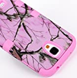 myLife (TM) Bubblegum Pink - Light Pink Tree Camouflage Design (3 Piece Hybrid) Hard and Soft Case for the Samsung Galaxy S4