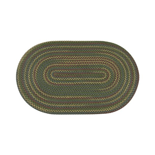 ITM Monticello Indoor/Outdoor Reversible Braided Rug, 5-Feet 6-Inch by 8-Feet 6-Inch, Olive