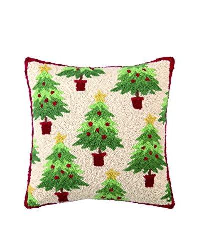 Peking Handicraft Christmas Collage Throw Pillow, Red/Green