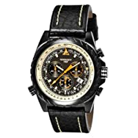 TORGOEN Swiss T22101 Men's Quartz Chronograph Pilot Watch with E6B Flight Computer and Black Italian Leather Strap