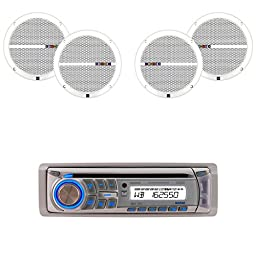Dual Electronics AM400W-DMP66 New Dual Marine CD Changer AM400W USB MP3 WMA AM/FM Receiver with 4 Dual Marine Speakers and Antenna