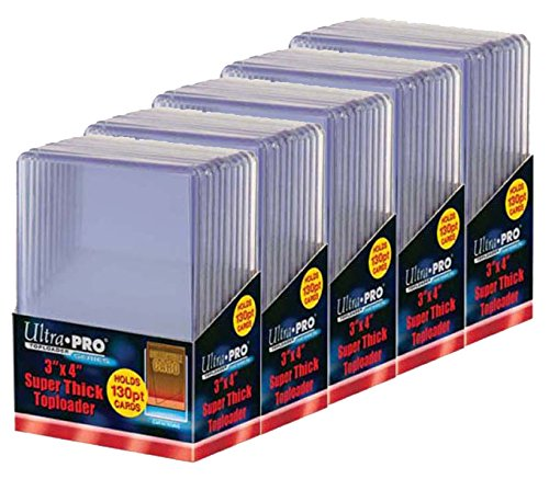 5 Ultra Pro 130pt Top Loader Packs - 10 Toploaders Per Pack (50 Total) - Thick Baseball, Basketball, Hockey, Football Cards (Ie Memorabilia) (Top Loader Sports Cards compare prices)