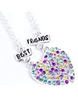 BEST FRIENDS BFF CRYSTAL HEART CHARM SILVER TONE 2 IN 1 PENDANT GIRLS NECKLACE GIFT SET