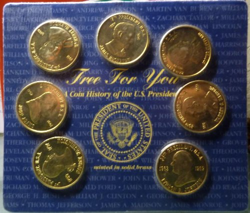 Set of Brass Presidential Coins - Seven (7) Coins