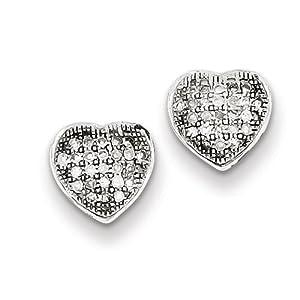 Genuine IceCarats Designer Jewelry Gift Sterling Silver Diamond Heart Post Earrings In Sterling Silver