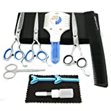 Easy Groom 10-piece Pet Home Grooming Kit - Curved Scissor, Cutting Scissor, Thinning Shear, Round-Tip Trimming Scissor, Razor Comb Trimmer Set