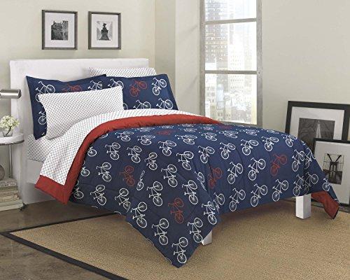 Dream Factory Bicycles Ultra Soft Microfiber Teen Bedding Comforter Set, Twin, Blue
