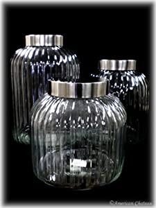 New Set of 3 Extra X-Large Glass Kitchen Canisters Jars