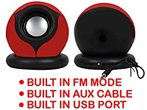 Portable Mini Speaker Supports with Memory Card/USB/AUX Function Compatible For Vivo Y28-RED