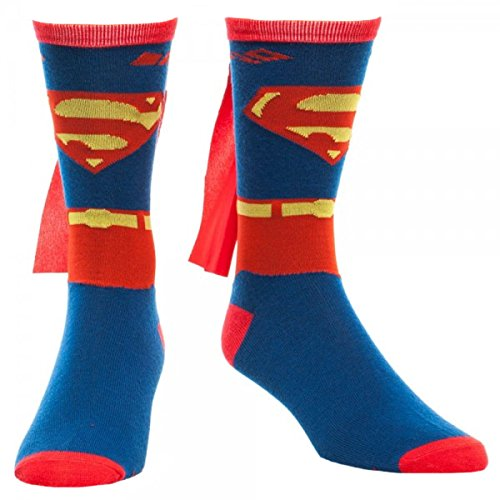 Superman Mens' Costume Cape Crew Socks
