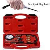 Compression Tester w/ Inline Spark Plug Tester - Gas Engine Cylinder Diagnostic Tool - Flex Hose Pressure w/ Cone Adapter And PSI Gauge - Best For Auto ATV Dirt Bike Chainsaw Snowmobile Motorcycle