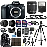 Canon EOS 60D SLR Camera with EF-S 18-55mm f/3.5-5.6 IS II SLR Lens - Mark II + 58mm 2X Professional Telephoto Lens + 58mm High Definition 0.45x Wide Angle Lens + Transcend 16GB Class 10 Memory Card +Transcend 8GB Class 10 Memory Card with Much More in this 30 Piece Accessory Bundle!