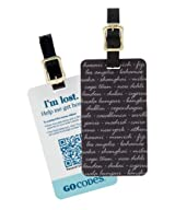 GoCodes Smart QR Bar Code Luggage Tag - World Cities in Black One Size