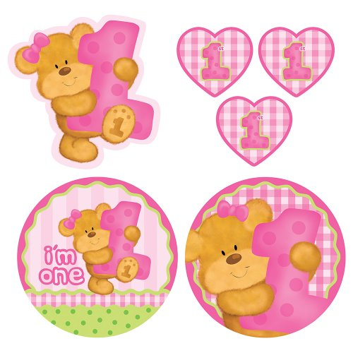 Creative Converting Bears First Birthday Cutout Decorations, Pink