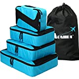 Aomidi 4 Set Packing Cubes - Travel Luggage Packing Organizers with Laundry Bag