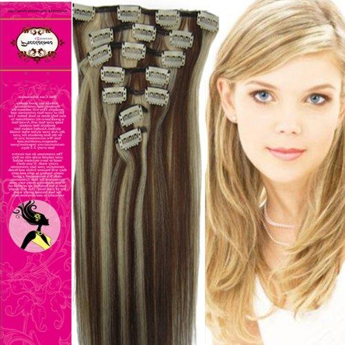 45,7 cm 100% cheveux humains véritables cheveux raides 7 pièces à clipser pour extensions de cheveux humains Couleur 4/613 brun moyen avec Blond Clair 70 g Beauté Design Salon
