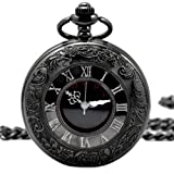 【黒の懐中時計】 アンティーク 懐中時計 【収納ポーチ + 専用箱 付き】レトロ ブラック クローム